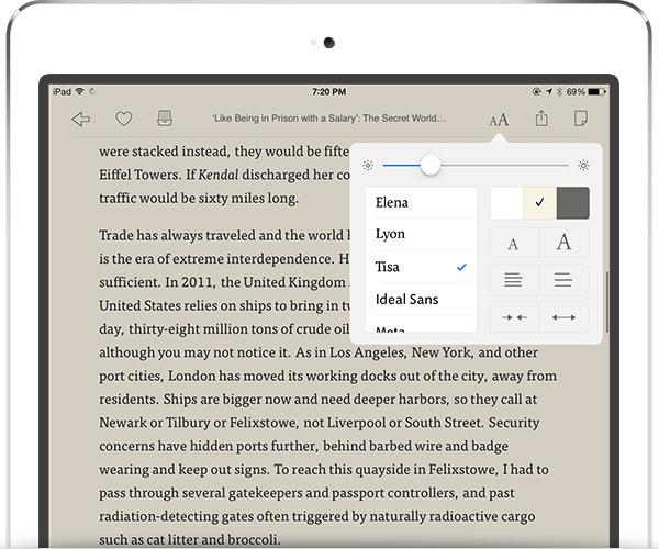 e-reader font controls